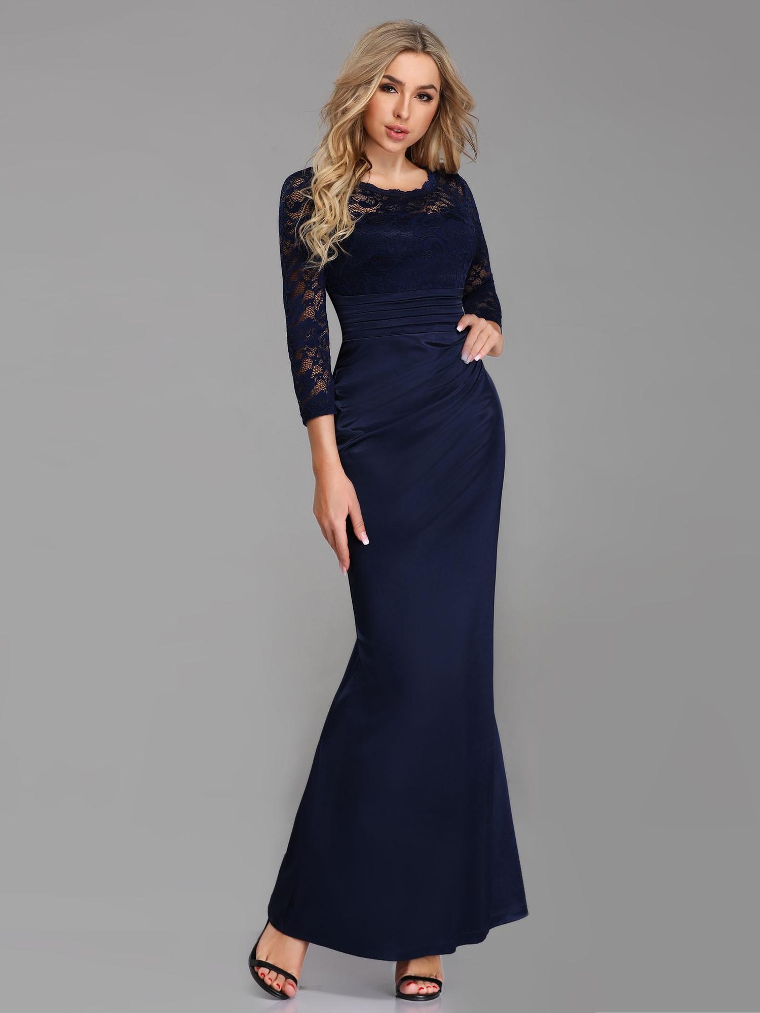 Aftonklänning i satin och spets - Marina´s Boutique ead2fee732b37