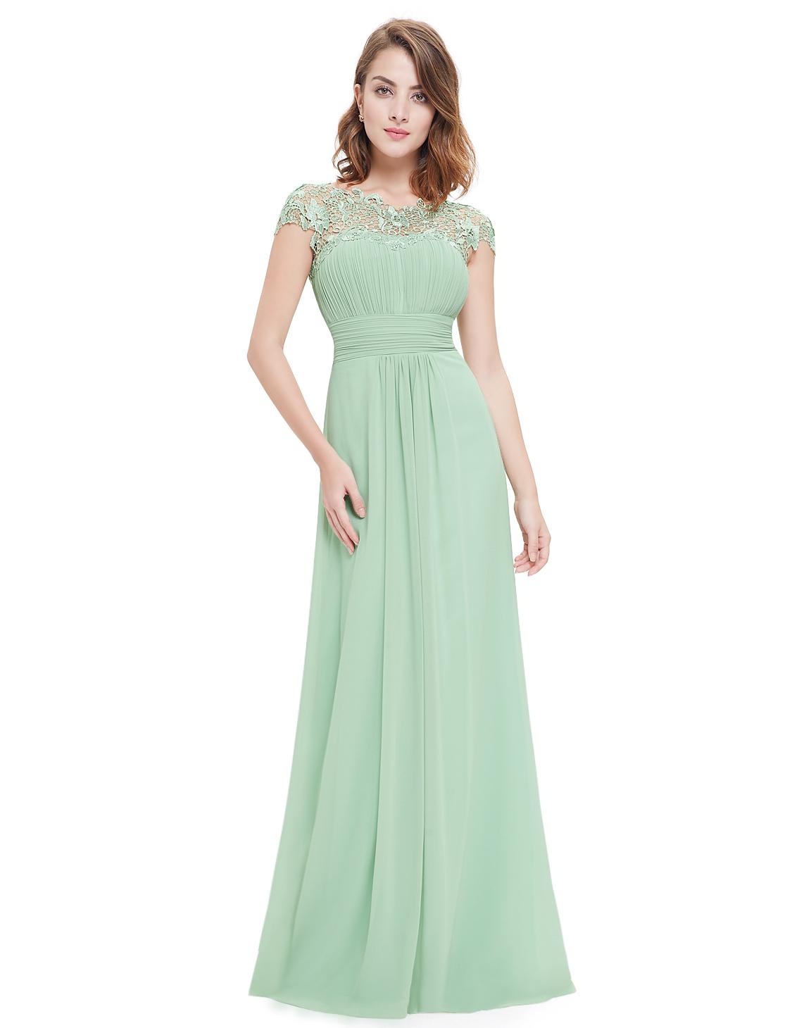 Chiffong klänning med spets - Marina´s Boutique 46989ee26f5f6